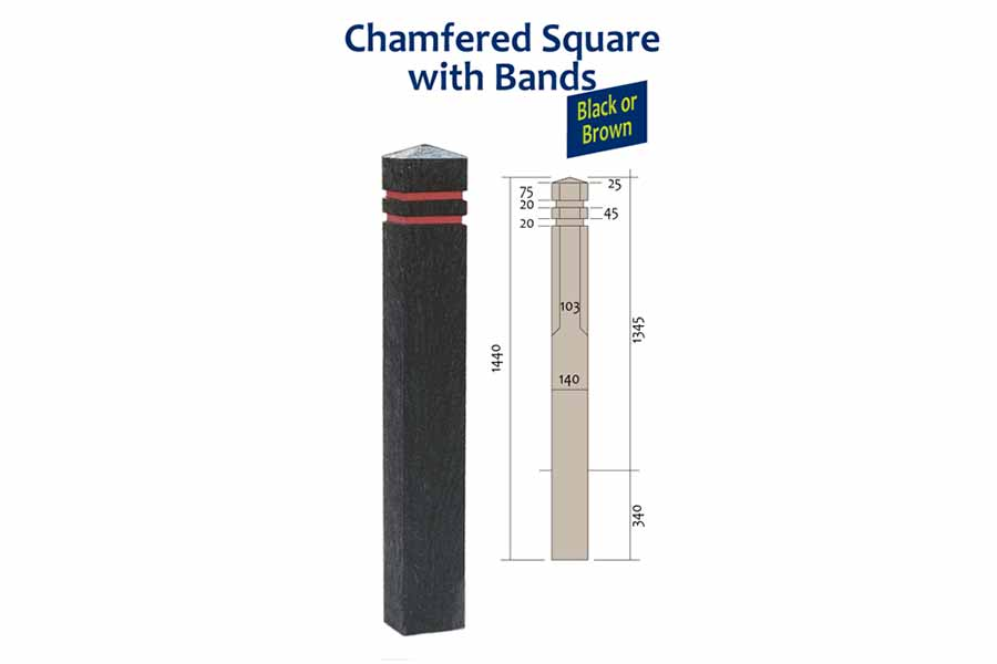 RFC chamfered square bollard with reflective bands