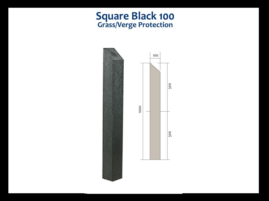 RCF square black 100 bollard