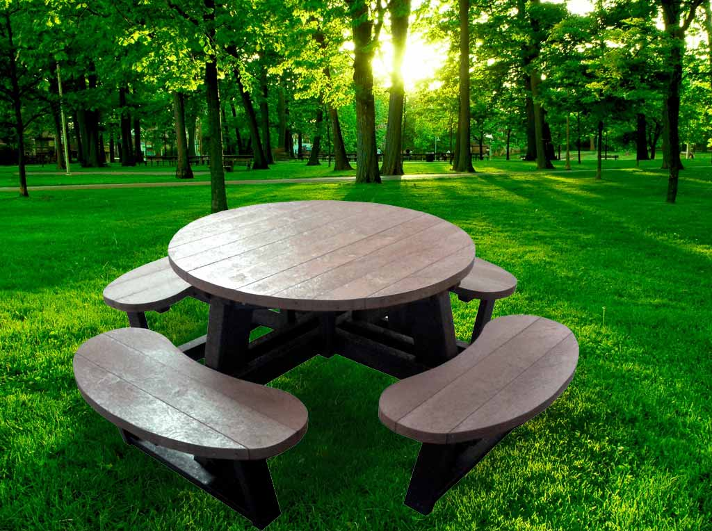 how to build a round picnic table and benches
